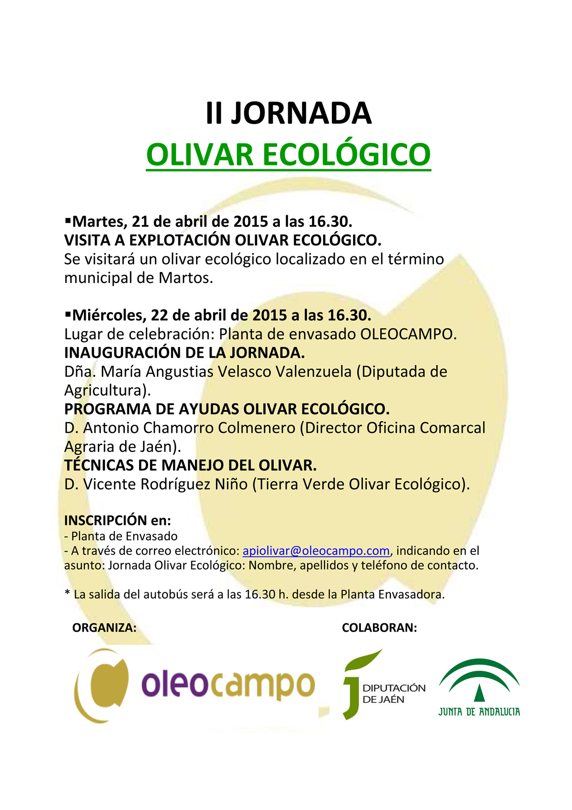 cartel II Jornada Olivar Ecológico