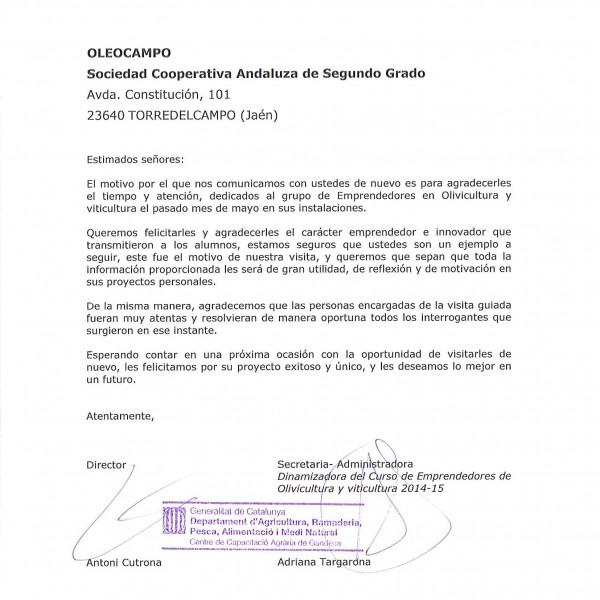 carta de agradecimiento por la atencin recibida en la visita oleoturstica oleocampo