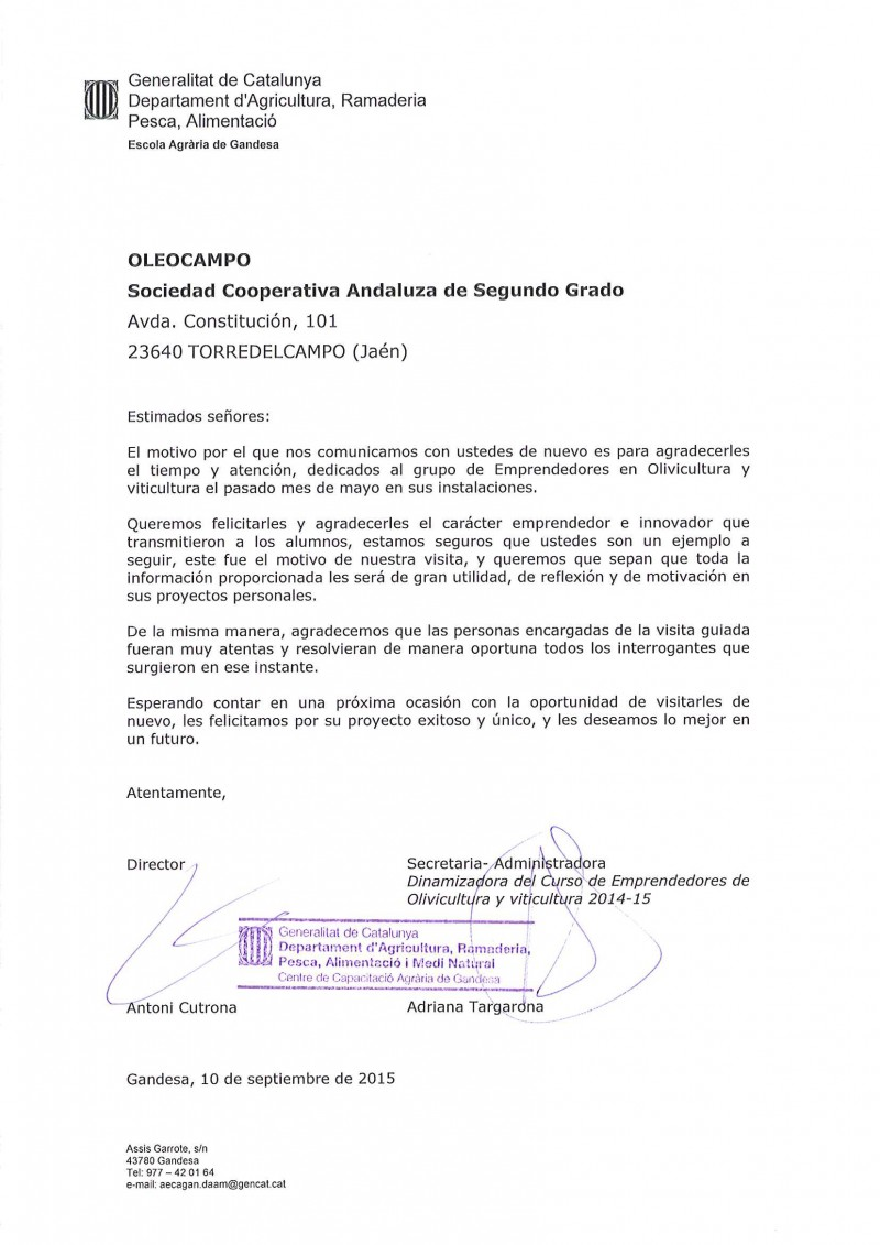 carta de agradecimeinto escuela de gandesa